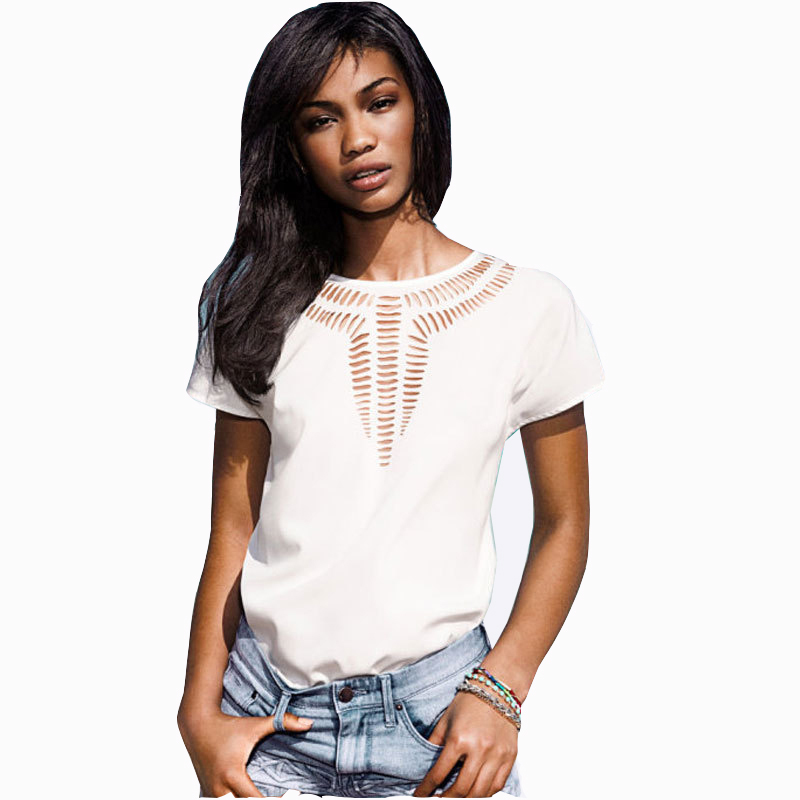 2019 New Casual Top Chiffon Tees Blouse Fashion Hot Sales Women Shirt Hollow Laser Engraving Summer Clothes