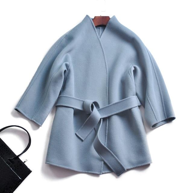 Cashmere Wool Coat Women Belt New Items 2018 Women's Winter Warm Coat Loose Overcoat Woolen Coats Women High Quality Z-809