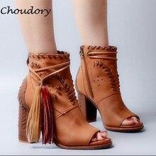 Choudory Sandalias Mujer Tassel High Quality Chunky High Heels Zapatos Mujer Woman Boots Spring Autumn Peep Toe Woman Shoes