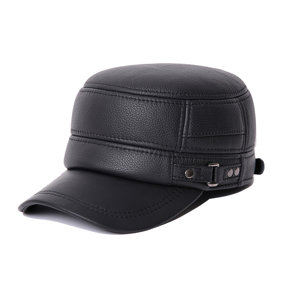 NEW Cowskin Genuine Leather Baseball Caps For Men Warm Earflap Hat Cowhide Cap Cow Leather Flat Top Snapback Hat For Male Casual hl083 new new fashion men s scrub genuine leather baseball winter warm baseball hat cap 2colors
