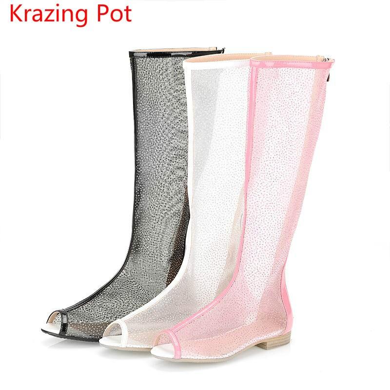 2017 Fashion Large Size Cut Outs Hollow Transparent Peep Toe Zipper Women Summer Boots Low Heels Handmade Superstar Sandals L denim zipper hollow worn stiletto womens sandals