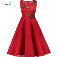 Dressv Red Cocktail Dress Cheap Scoop Neck A Line Mid Calf Sleeveless Graduation Party Dress Elegant