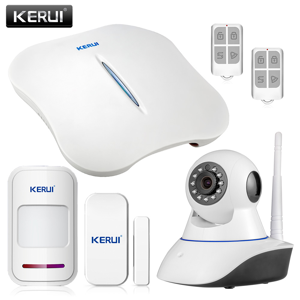 KERUI W1 Wireless Home Security WIFI PSTN Alarm System IP Camera Kit Mini Alarm Device APP Remote Control