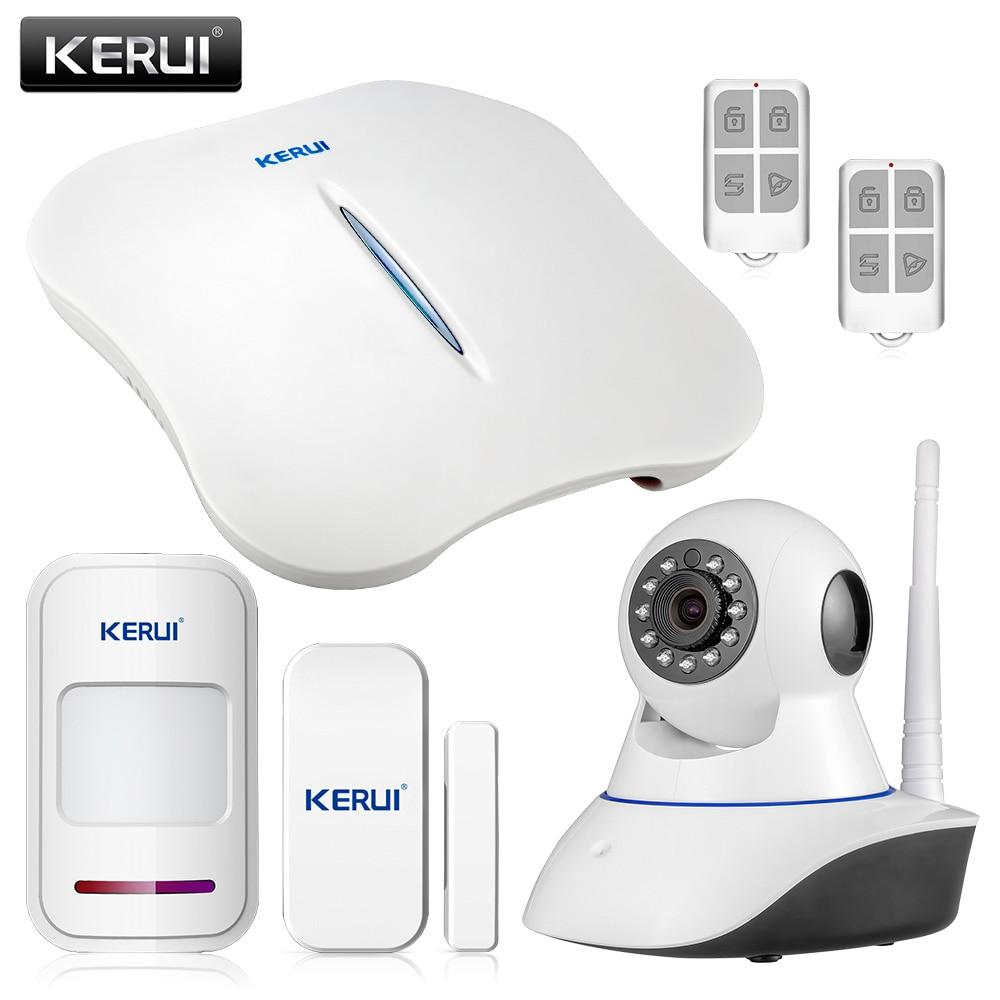 KERUI W1 Wireless Home Security WIFI PSTN Alarm System IP Camera Kit Mini Alarm Device APP Remote Control