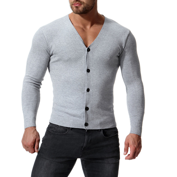 Europe And America V-Neck Cotton Sweater Men New Arrival Slim Fit Cardigan Knitwear Fashion Sweatercoat Male Knitted Clothing