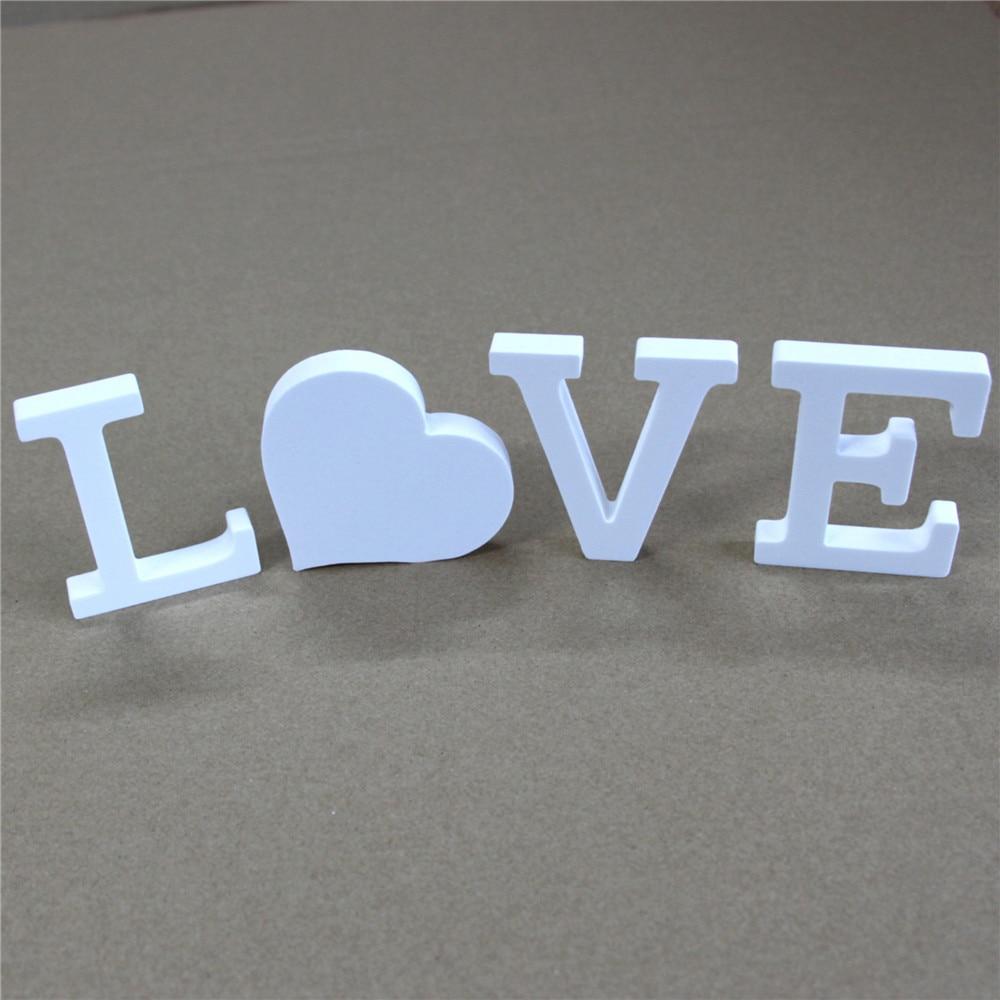 Купить с кэшбэком Creative Free Standing Wood Wooden 10cm White Letters Alphabet Word for   Birthday Party Home Wedding Decoration gifts