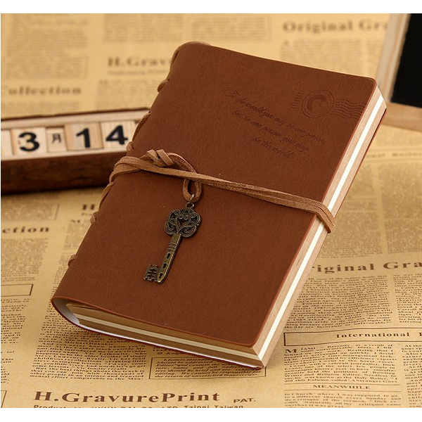 Vintage Magic and Key Chain Retro PU Leather Travel Diary Notebook Travel Memo Book Coffee цена 2017