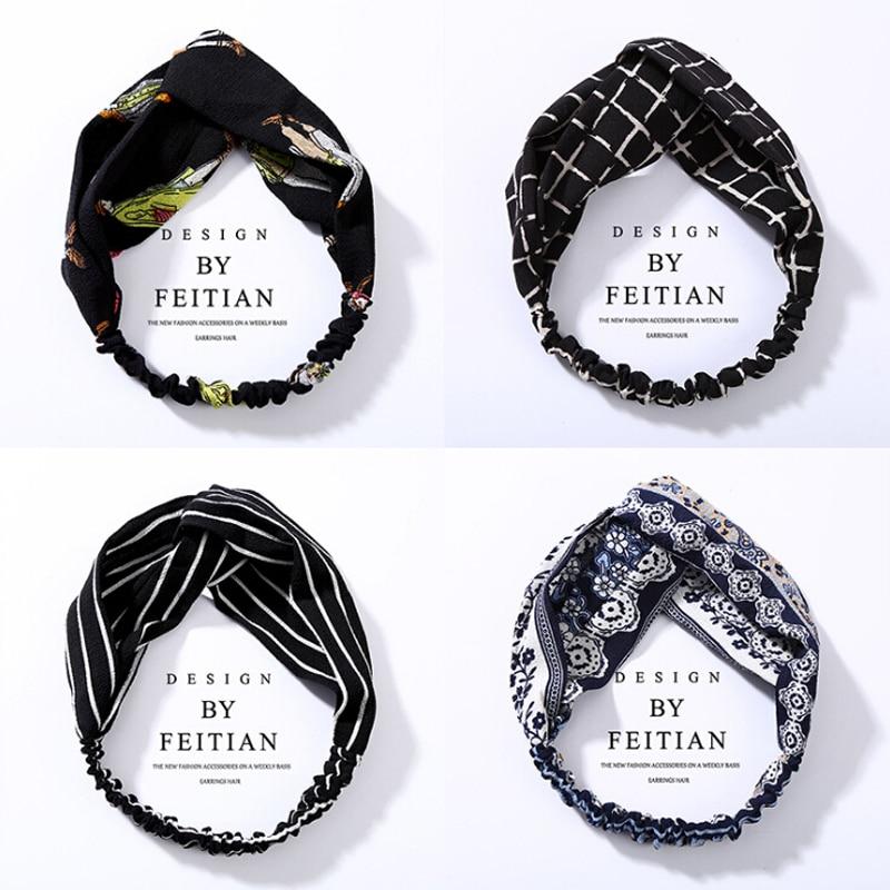 TWDVS Fashion Plaid Bow Headwear Turban Elastic Headband Head Wrap Hair Accessories for Women Girls Striped 1pc Hats Accessories