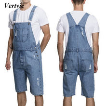 VERTVIE 2018 Men's Casual Summer Denim Bib Pants Overalls For Male Short Knee Length Hole Ripped Jeans Homme Loose Jumpsuits(China)