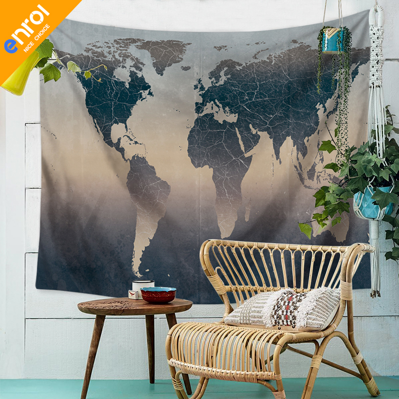 Polyester Colorful Word Map Pattern Wall Cloth Hanging Home Decoration Party Gift Bedspread Beach Towel Yoga Picnic Mat Tapestry