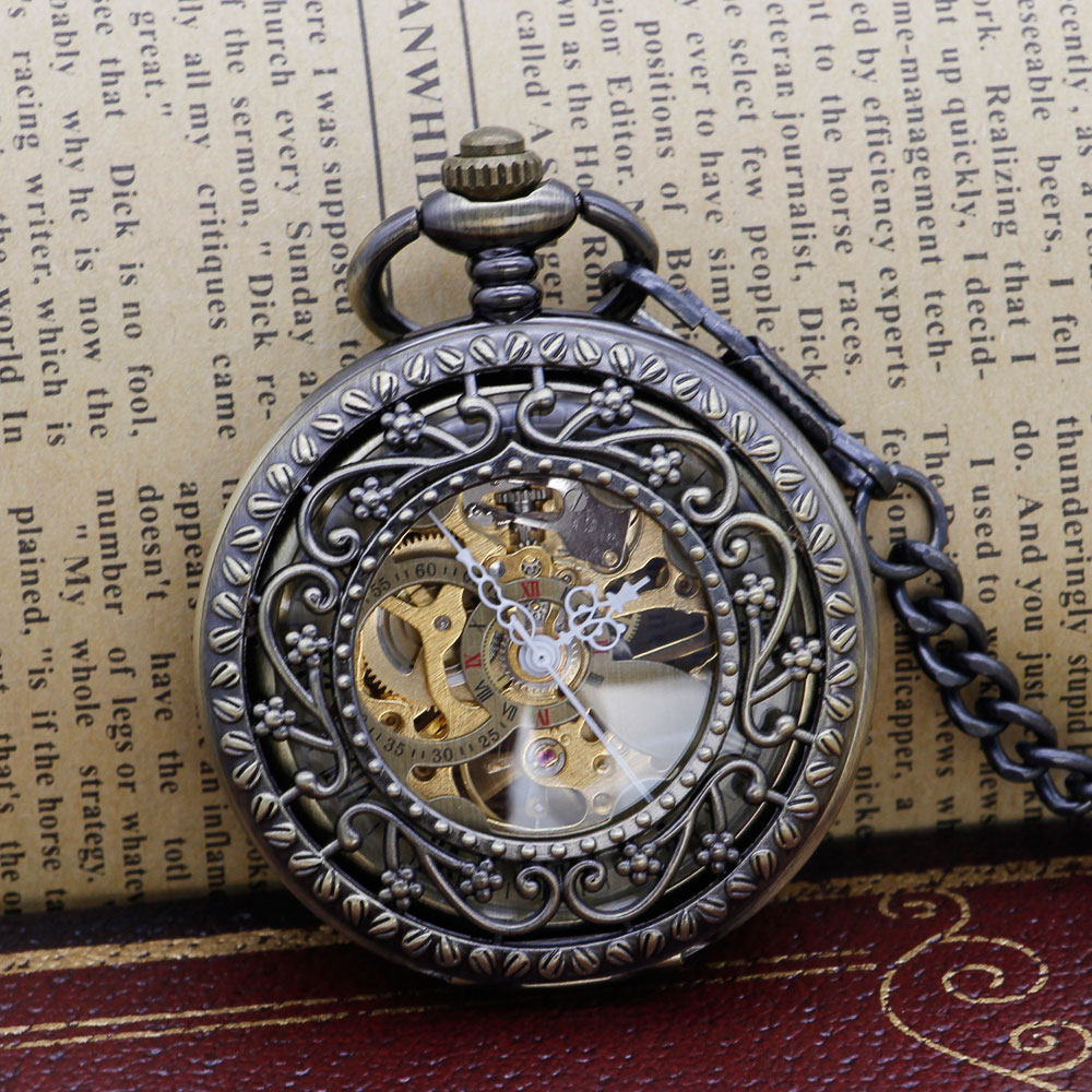 Fashion Hollow Flower Bronze Hand Winding Mechanical Pocket Watch Mens Womens Box Bag PJX1313