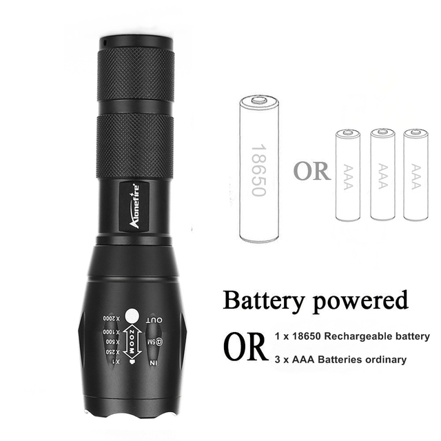 AloneFire E17  XM-L T6 3800LM Aluminum Waterproof Zoomable CREE LED Flashlight