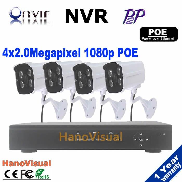 best sale!4CH POE NVR  4pcs 2.0MP IR Weatherproof outdoor home security 1080p IP Camera poe nvr kit CCTV System Surveillance Kit