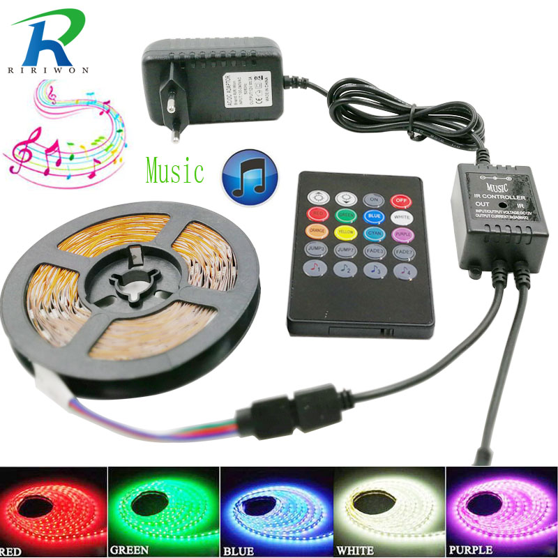 SMD5050 30 leds / m LED light Tape Diode Waterproof RGB LED Jalur Cahaya WiFi controller AC 220 V 5 m DC 12 V Strip Fleksibel Set Lengkap