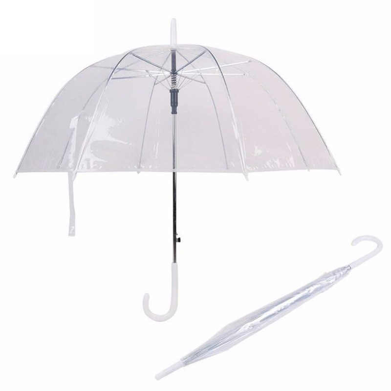 Transparent Umbrella Light Long Handle Umbrella Female Children Parasol Semi-Automatic Straight Rod Sunshade Automatic Umbrella