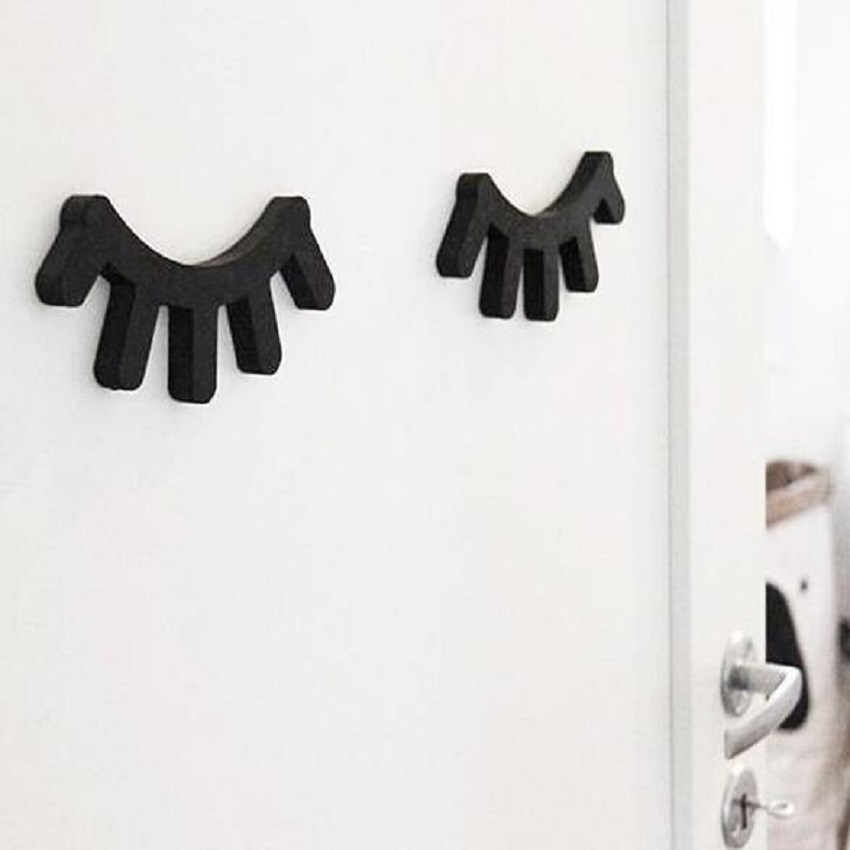 Small eyelash wooden sticker for kids room wall decorate for Kids room hooks