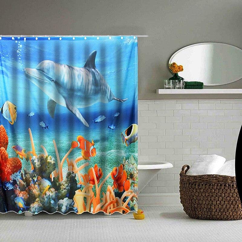hot sale 180180cm 3d dolphin sea fish peva waterproof shower curtain bathroom products bath curtain with bath mat bathroom set