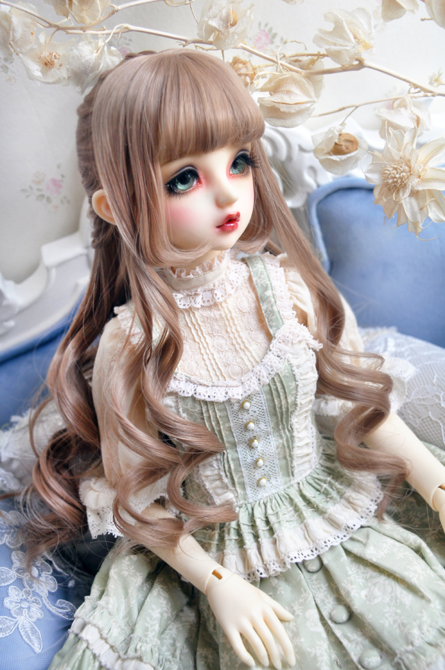 1/3 1/4 BJD Doll Milk Tea Brown Dark Brown High-temperature Wire Hair Wigs Gorgeous Princess Compiled Curly Hair