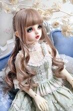1/3 1/4 BJD 人形ミルクティーブラウンダークブラウン高温ワイヤーヘアーかつらゴージャスな王女コンパイルカーリー毛