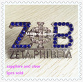 New zeta phi beta brooch with dark blue and clear stone 50*30mm in stock cute greek ZPB pin jewelry for girls,1pcs,OGB001