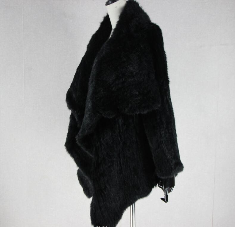Трикотажный кардиган из натурального кроличьего меха, вязанные меховые накидки, шаль, пальто с кроличьим мехом, утепленное меховое пальто, женский модный стиль летучей мыши - Цвет: 5