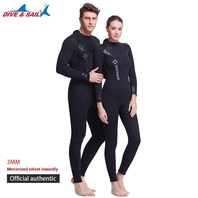 3 MM Combinaison Néoprène À Manches Longues Surf Costume Complet Hommes garder au chaud plein corps Plongée Costume Pour Femmes Surf Maillot de Bain Humide Costume Pour nager