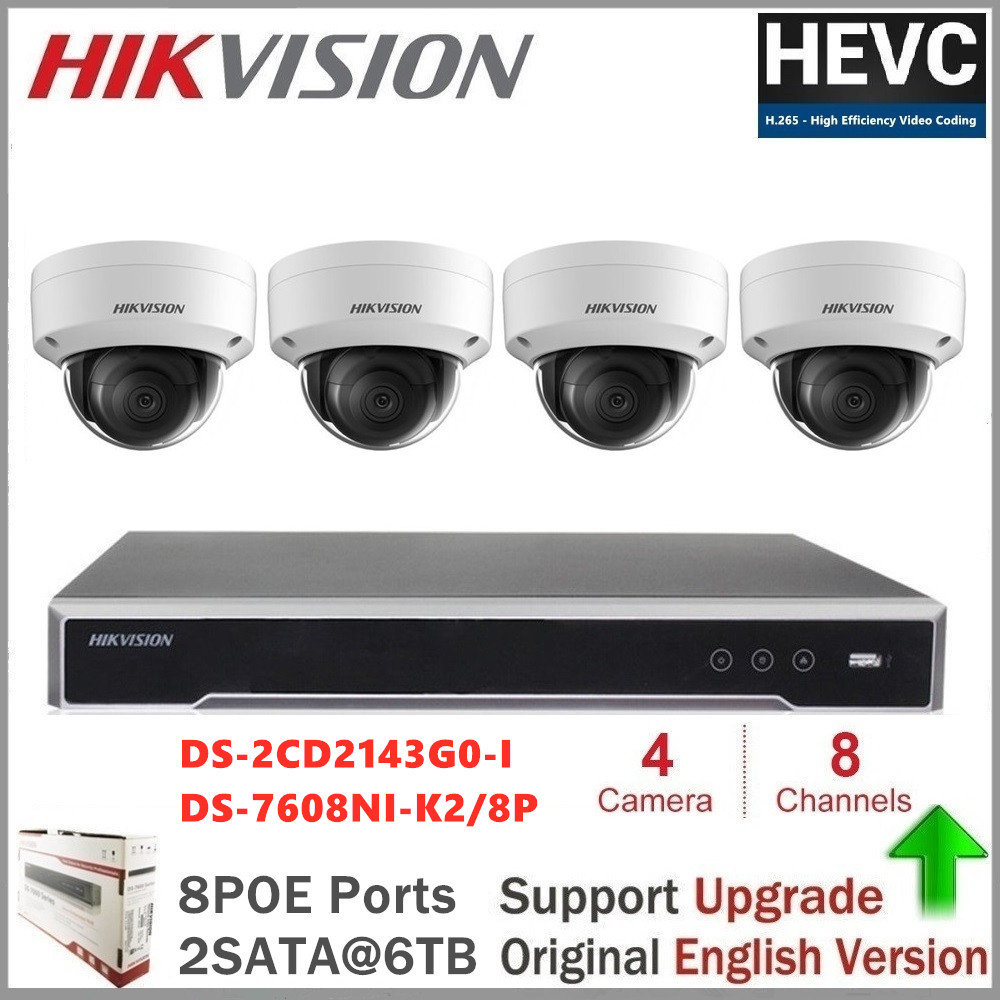 Hikvision IP Camera Surveillance Set DS-2CD2143G0-I CCTV Security System Dome + NVR DS-7608NI-K2/8P 8CH 8POE 2SATA H.265