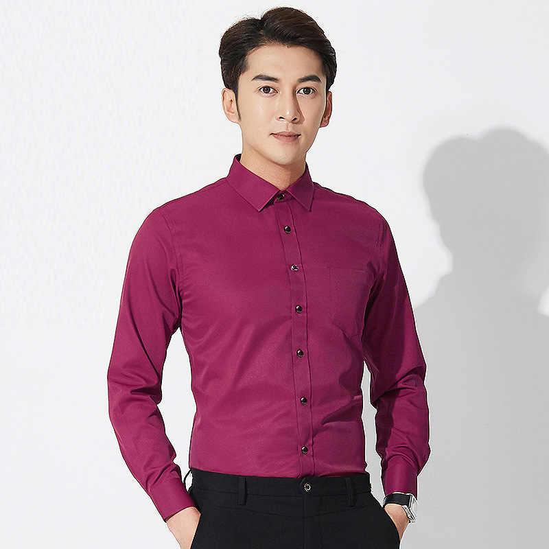 Anti-Wrinkle Peregangan Pria Kemeja Kasual Slim Fit Bekerja Baju Pria Lengan Panjang dengan Harga Murah Cina Mengimpor Pakaian Pria Pria kemeja
