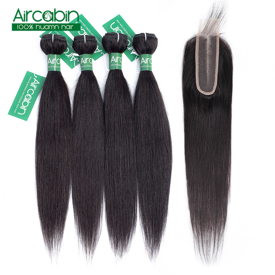 Brazilian Straight Hair Bundles With Closure Human Hair 3/4 50g Bundles With Closur Human Hair Extension Natural Color Non-Remy