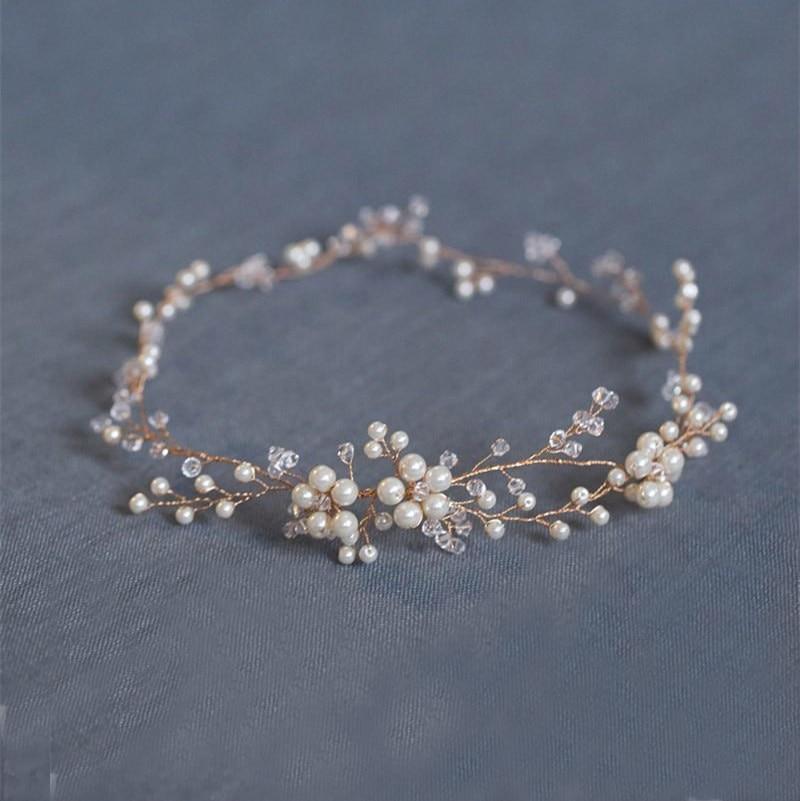 Prix pour Mode Floral Or de mariée cheveux accessoires Faits À La Main Perle Bijoux De Cheveux De Mariage Accessoires Bandeau Femmes Casque