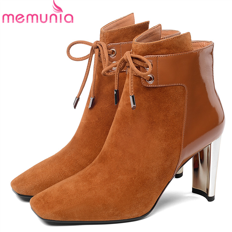 MEMUNIA 2018 new arrival ankle boots for women square toe suede leather boots autumn winter high heels dress shoes woman enmayla autumn winter chelsea ankle boots for women faux suede square toe high heels shoes woman chunky heels boots khaki black
