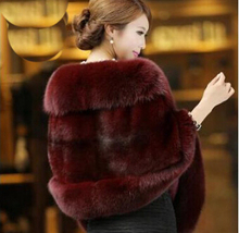Fur coat Female Fur vest 2015 Women's FAUX  Rabbit Fur outerwear Coat Fox Collar Outerwear Lady Winter Sleeveless Vest
