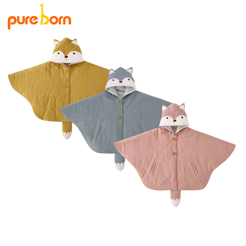 Pureborn Baby Girls Hoodies Cloak Coat Toddler Kids Cotton Cape Poncho Cloak Outerwear Cute Fox With Tail Poncho Jacket Clothing