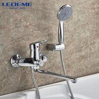 LEDEME 1 Set Outlet Pipe Bath Shower Faucet Chrome Plated Surface Brass Material Shower Head L2204