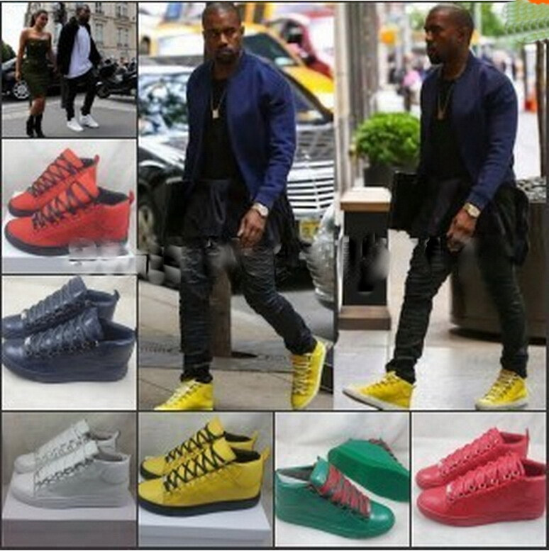 7b234161575 2015 Yeezy Kanye West Fashion Shoes Men s High top Snea kers BL Lace up FW  Flat Travel Shoe