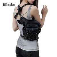 DIINOVIVO Punk Style Luxury Leather Shoulder Crossbody Bag Unisex Motorcycle Rider Hip Leg Belt Bum Waist
