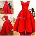Lindo vestido Vestidos New querida A linha Puffy cetim vermelho Hi Lo verão festa de celebridades Myriam Fares Vestidos 2015S81406