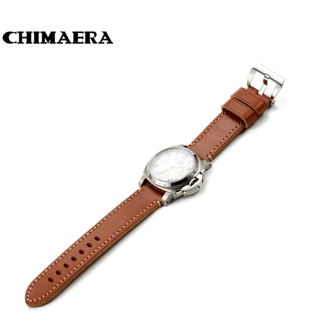 a47ecefd9a953 20mm 22mm Vintage Brown Cowhide Genuine Leather Watch Band Strap Handmade  Flat Thick Soft Diving Watch
