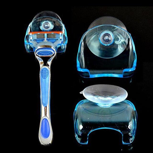 1 pz Nuovo Pratico Trasparente di Plastica Blu Super Supporto Del Rasoio con Ven