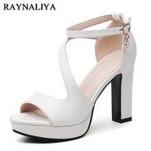 Platform Sandals Square Heel Women Genuine Leather High Heels Open Toe Beach Fashion Female 2018 Summer Ladies Shoes YG-B0121
