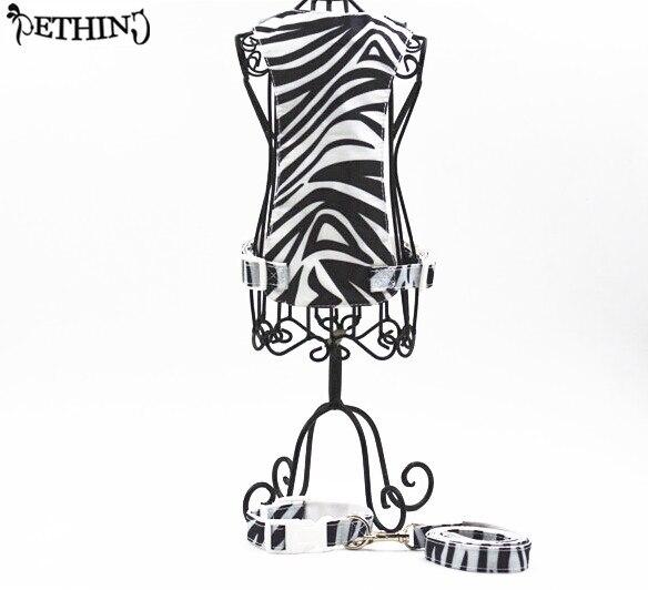New zebra stripe pattern dog rope leash+collar+harness nylon soft comfortable pet supplies adjustable dog harness and collar S L