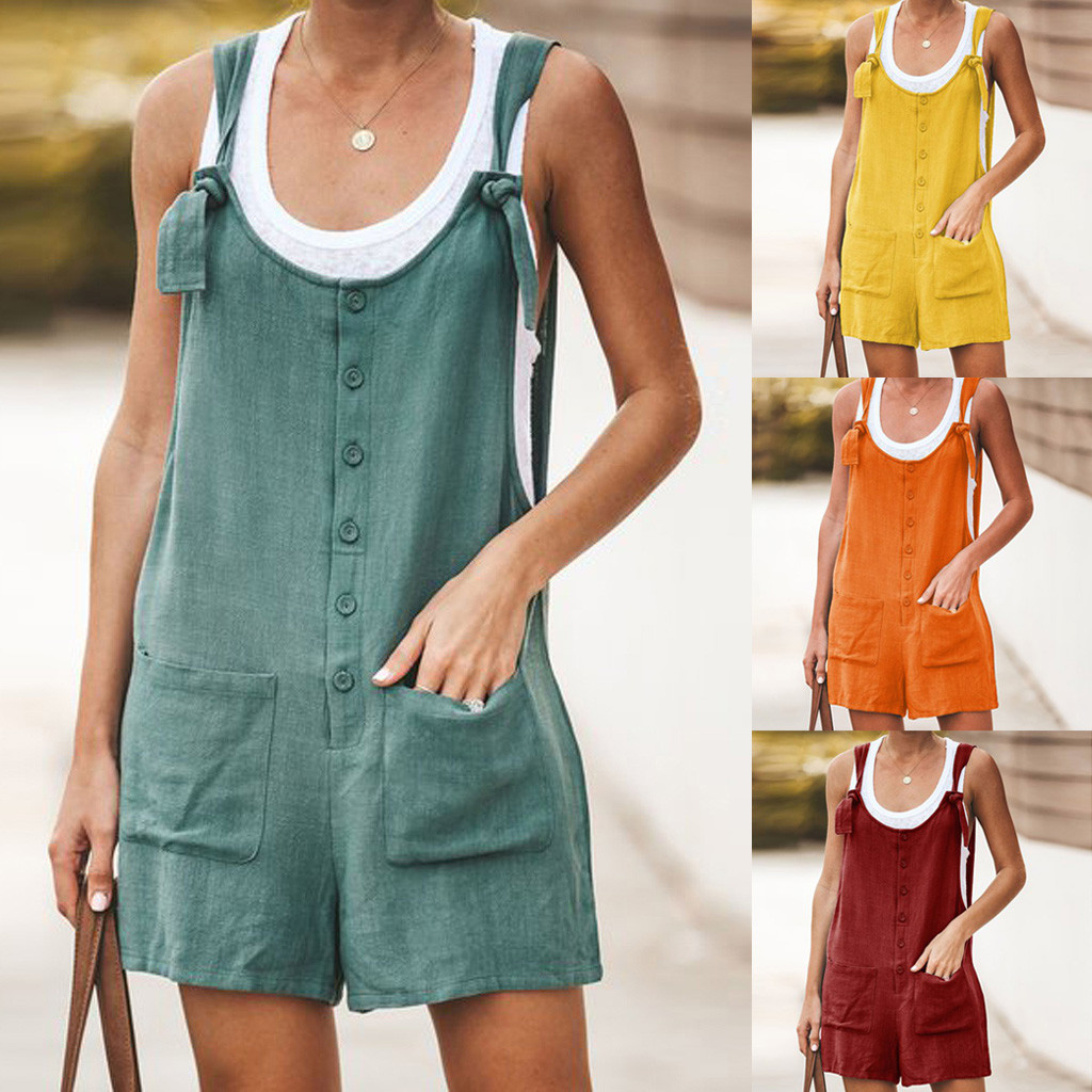 DOUDOULU Women Casual Button Pocket Jumsuit Linen Vintage Shift Spaghetti-Strap