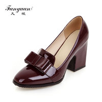 fanyuan Brand Design Solid Bowtie Square High Heels Patent Pu Shoes Woman Casual Office Spring Autumn Pumps Big Size 33 43