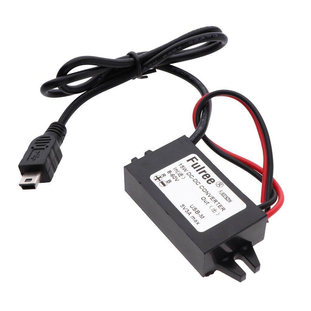 8-60V to 5V 3A Mini USB DC-DC Step Down Voltage Converter Car Power Regulator