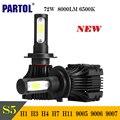 Partol S5 H4 H7 H11 H1 9005 9006 9007 LED Headlight Bulbs COB 72W 8000LM Car LED Headlights Bulb Head Lamp Fog Light 6500K 12V