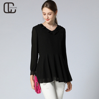 New Autumn Woman S Chiffon Casual Blouse Ladies Elegant OL Thin Black Blusas Plus Size Ruffles