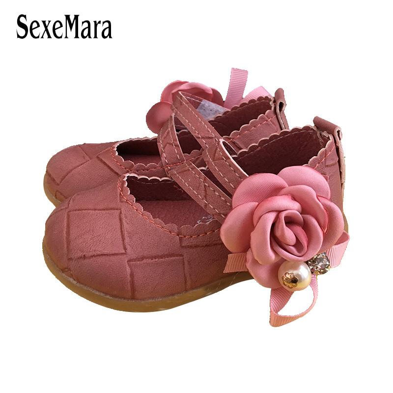 2017 Flower Sandals for toddlers girls EUR Size 15-26 Pearl Crystal Baby Girl Shoes Sandals Anti-skid Square heel Clogs A07162