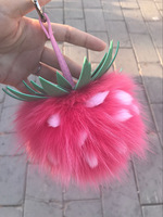 2017 New Characteristic Pineapple Shape Fend Fruit Charm Fox And Rabbit Fur Soft Pendant For Keychains