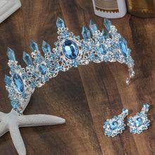 Tiaras de novia con cristales azules, corona, diadema con diamantes de imitación, accesorios para el cabello de boda, 2020