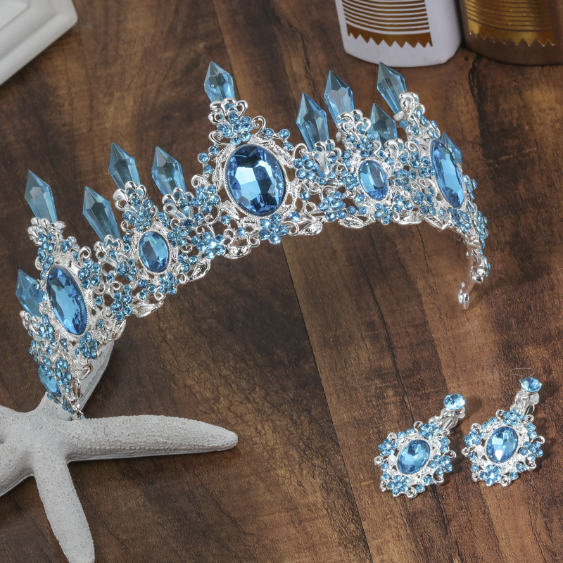 2018 New Arrival Charming Blue Crystal Bridal Tiaras Crown Magnificent Rhinestone Diadem for Princess Wedding Hair Accessories charming embellished blue rhinestone wedding ring